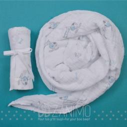 Couverture de mousseline 100% coton - motif chien aqua