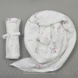 Couverture de mousseline 100% coton - motif chien mauve