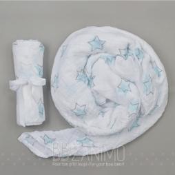 Couverture de mousseline 100% coton - motif étoiles aqua