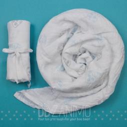 Couverture de mousseline 100% coton - motif moutons aqua