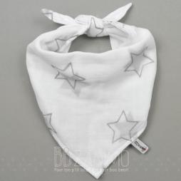 Bandana BBzanimo en mousseline 100% coton. Étoiles grises.
